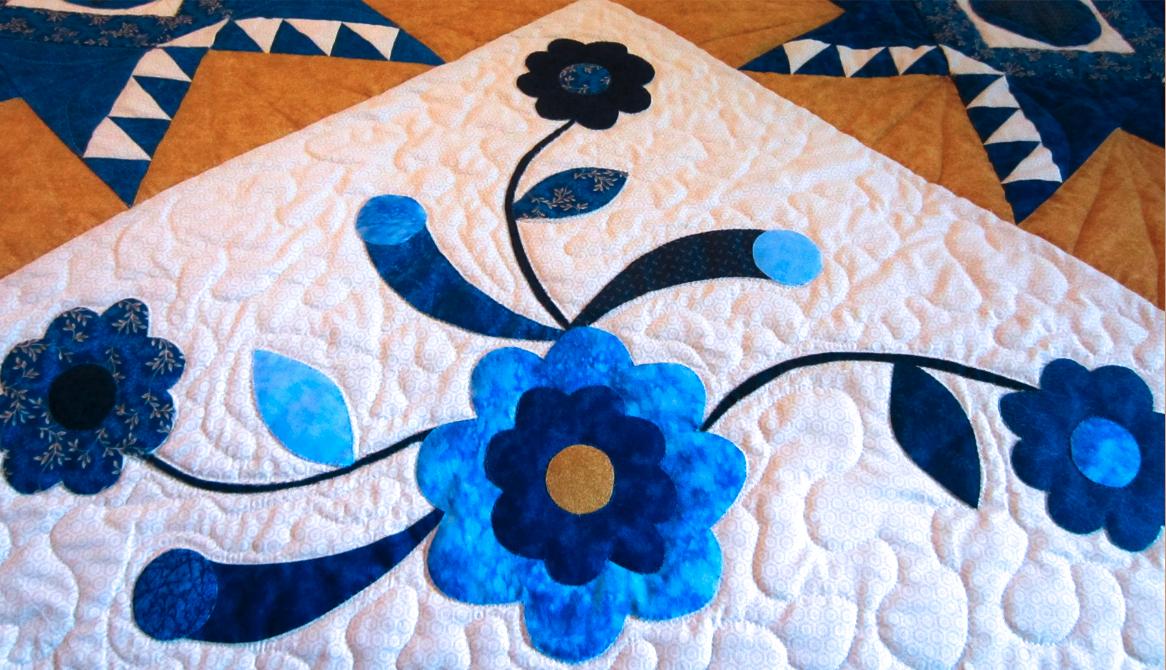 Blanket with blue flower pattern