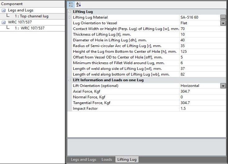 Lifting lug data