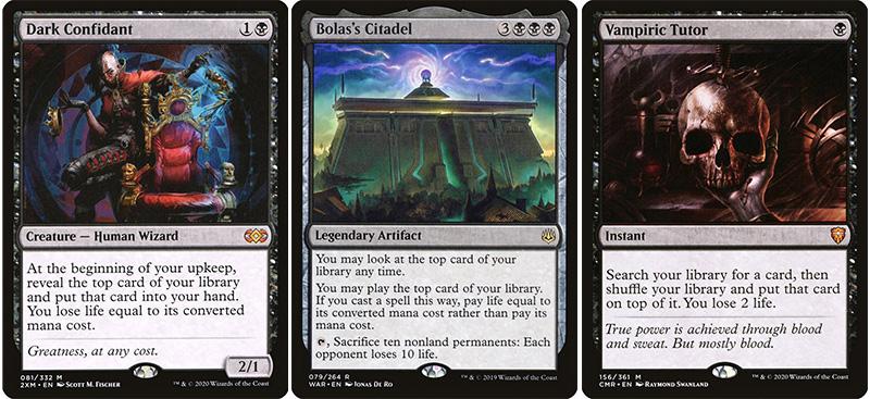 dark confidant, bolas citadel, vampiric tutor
