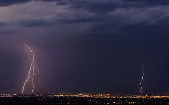 Lightning from a Colorado thunderstorm