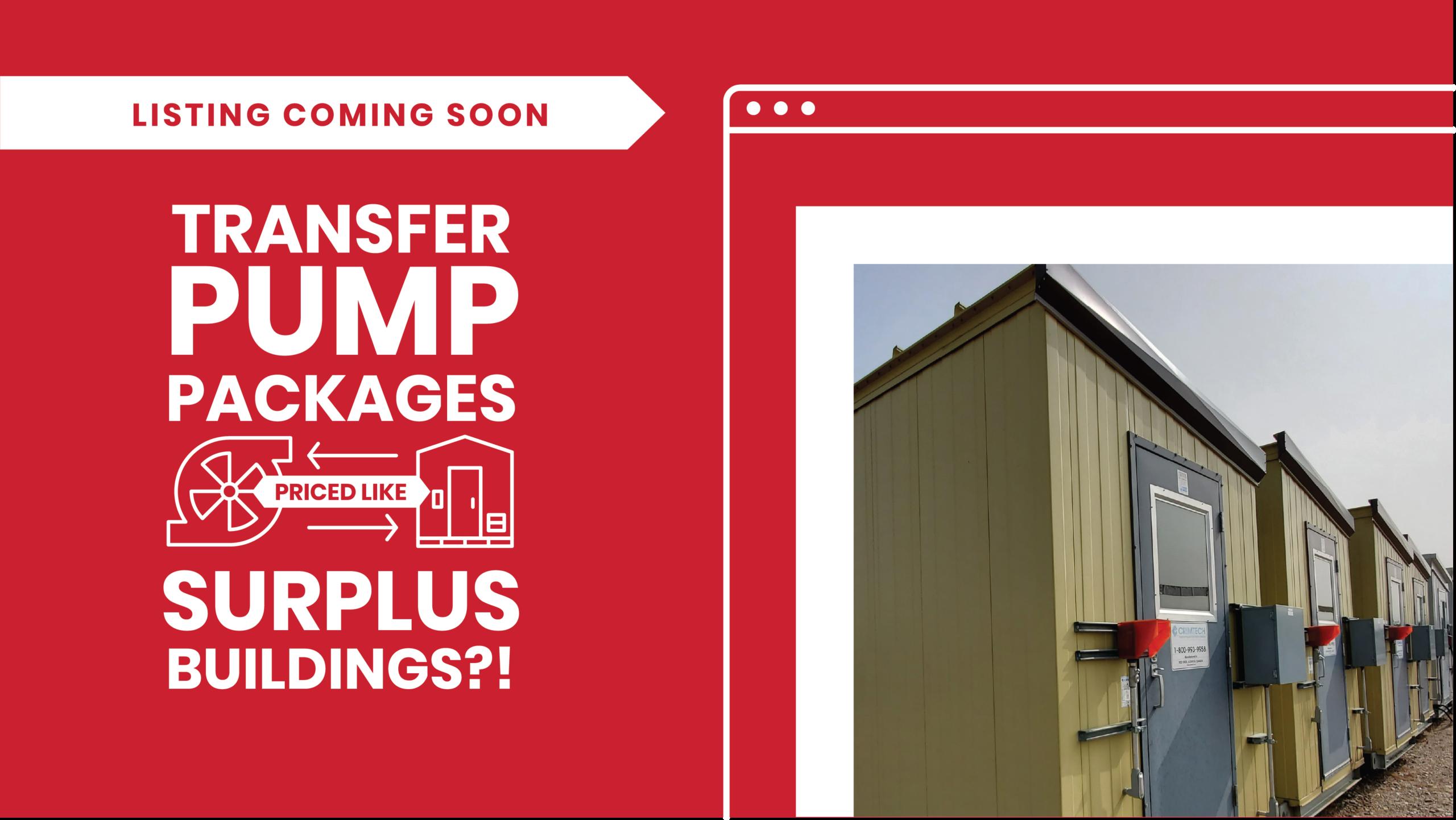 water transfer pump packages / oil transfer pump packages priced like surplus buildings