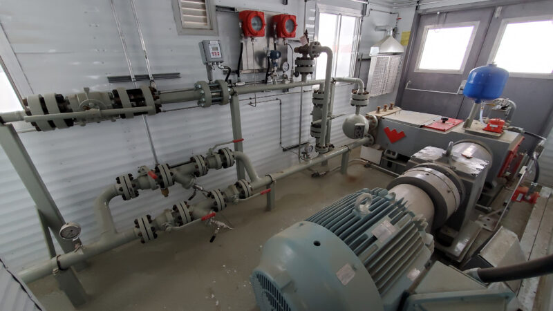 Interior 1 –150HP Weatherford W165 H fluid end W165H Jet Pump Packages for sale in Alberta Canada used surplus oilfield oil and gas energy equipment