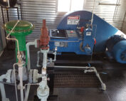 Used surplus 100HP National 100T-4M Full Sour Triplex Pump Package for sale in Fox Creek Alberta Canada oilfield oil & gas energy production equipment 4