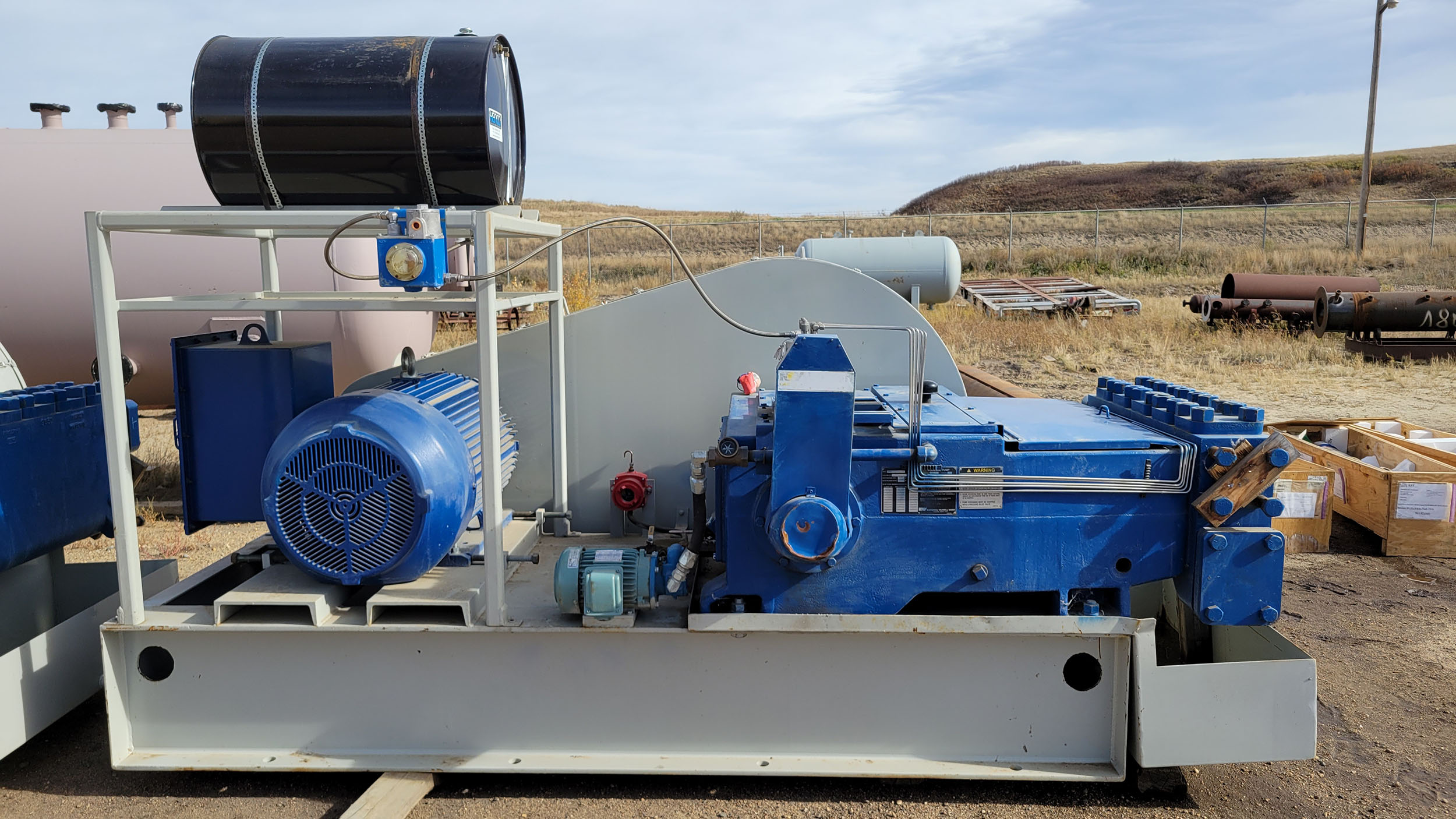New / Never-used 300HP National 300Q-5M Unitized / Mini Skid Pumps for sale in Alberta Canada surplus oilfield oil and gas equipment 1
