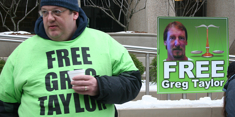 Protest to free Grag Taylor