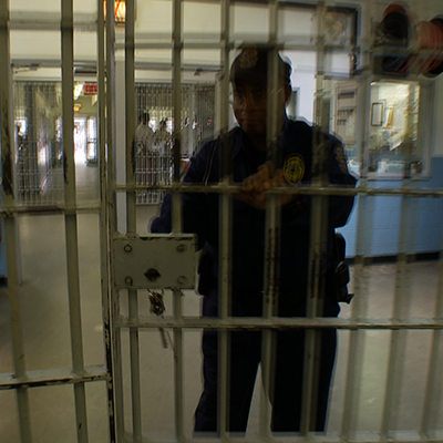prison guard locking door