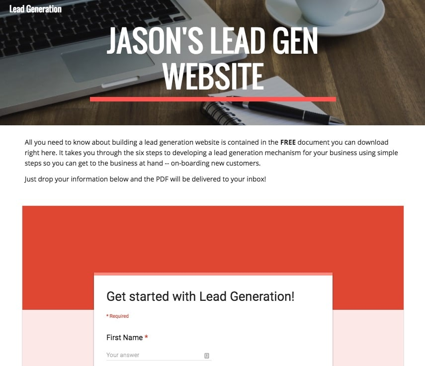 lead generating website sample