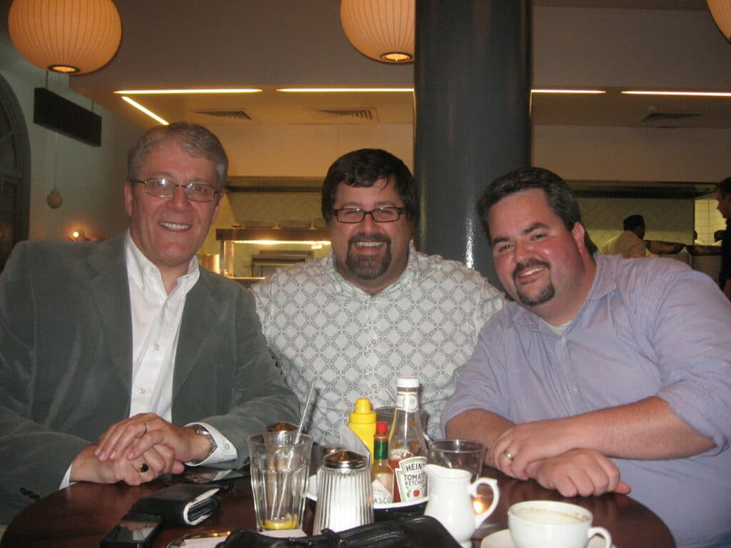 Me with two legendary PR influencers, Neville Hobson and Chris Heuer