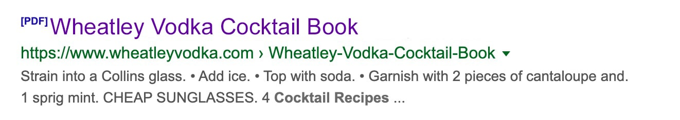Wheatley Vodka Search Result