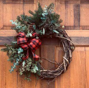 local Christmas wreath, holiday wreath, local greens