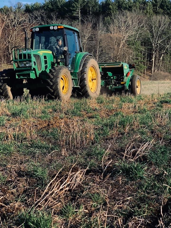 No till planting at Clover Hill Farm, Gilbertville, Hardwick, MA