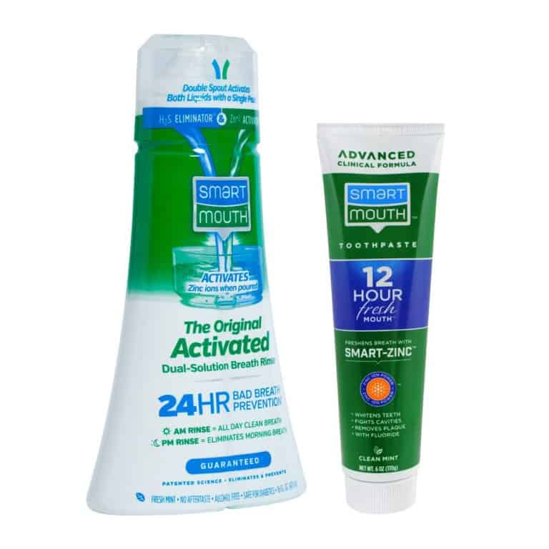 Original Solution Mouthwash and Premium Toothpaste bottles
