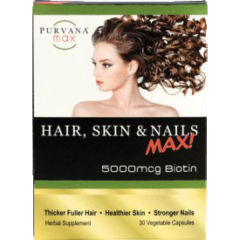 Purvana MAX 5000 mcg of Biotin Hair Skin and Nails Formula