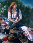 Motorcycle Art Print|Artist Self Portrait on Harley