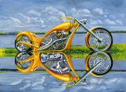Motorcycle Art Print|Chopper|Gold Digger