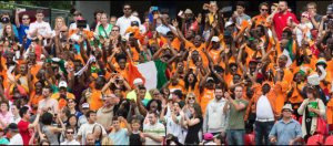 Ivory Coast fans cheering for their players