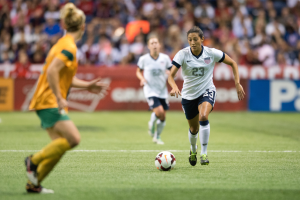 Christen Press scoring her first international goal