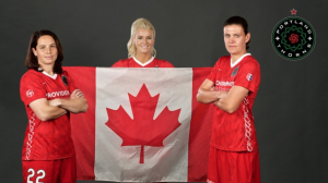 The three Canadians from Chicago Red Stars: Rhian Wilkinson, Kayln Kyle, Christine Sinclair from left to right