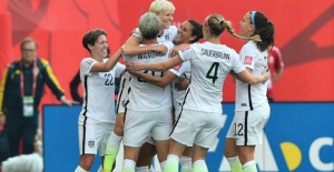 USWNT celebrating the important victory