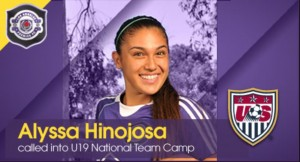 Alyssa Hinojosa called into U19 US Women's National Team Camp
