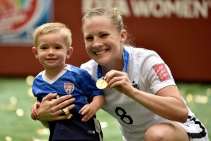 Californian and veterean Amy Rodriguez celebrating with her son