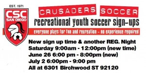 Sign up for San Diego Crusaders Registration Tomorrow!