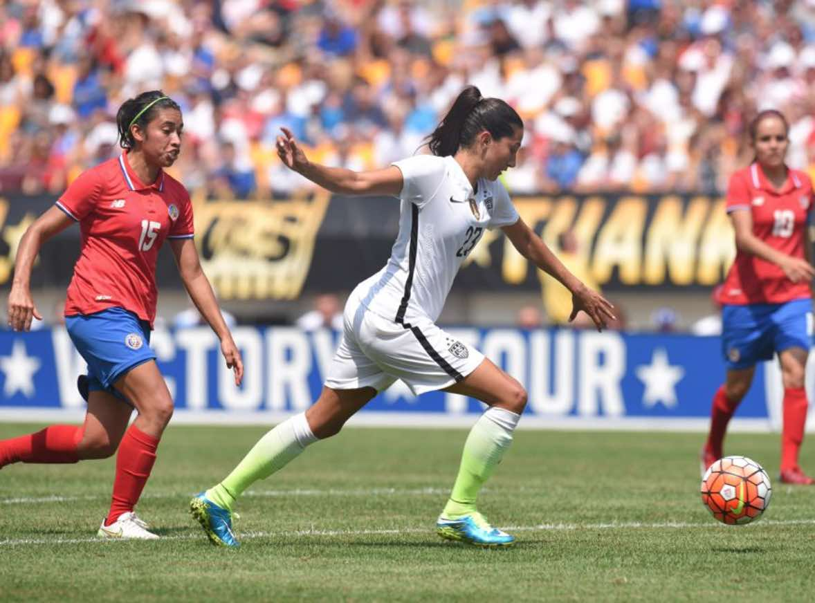 California native Christen Press scores hat trick in 8-0 win