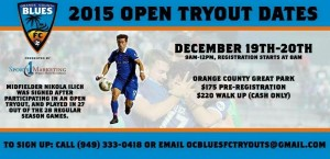 2015 USL Western Conference Champion OC Blues FC Host Open Tryout