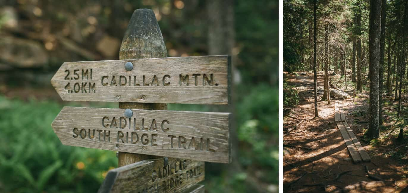 Cadillac Mountain South Ridge trail sign