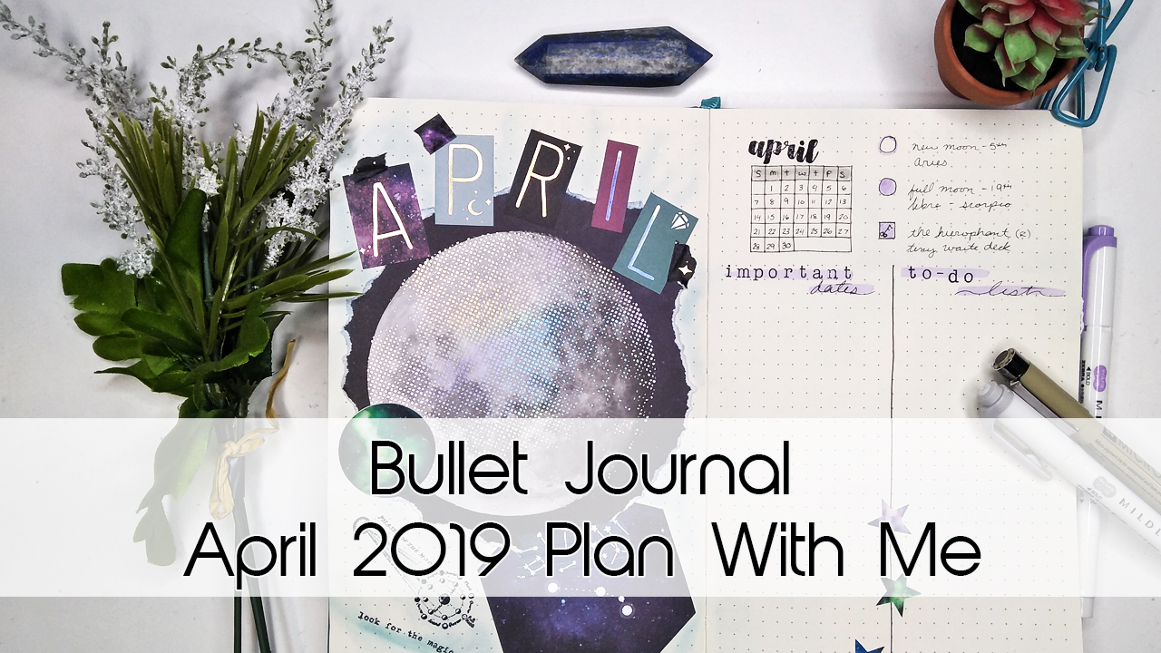 April Space/Galaxy Bullet Journal Theme