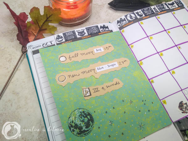 Monthly tarot with full and new moon dates in my Wordsworth Planner.