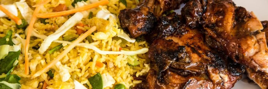 BARBECUE CHICKEN WITH CHOW MEIN & FRIED RICE