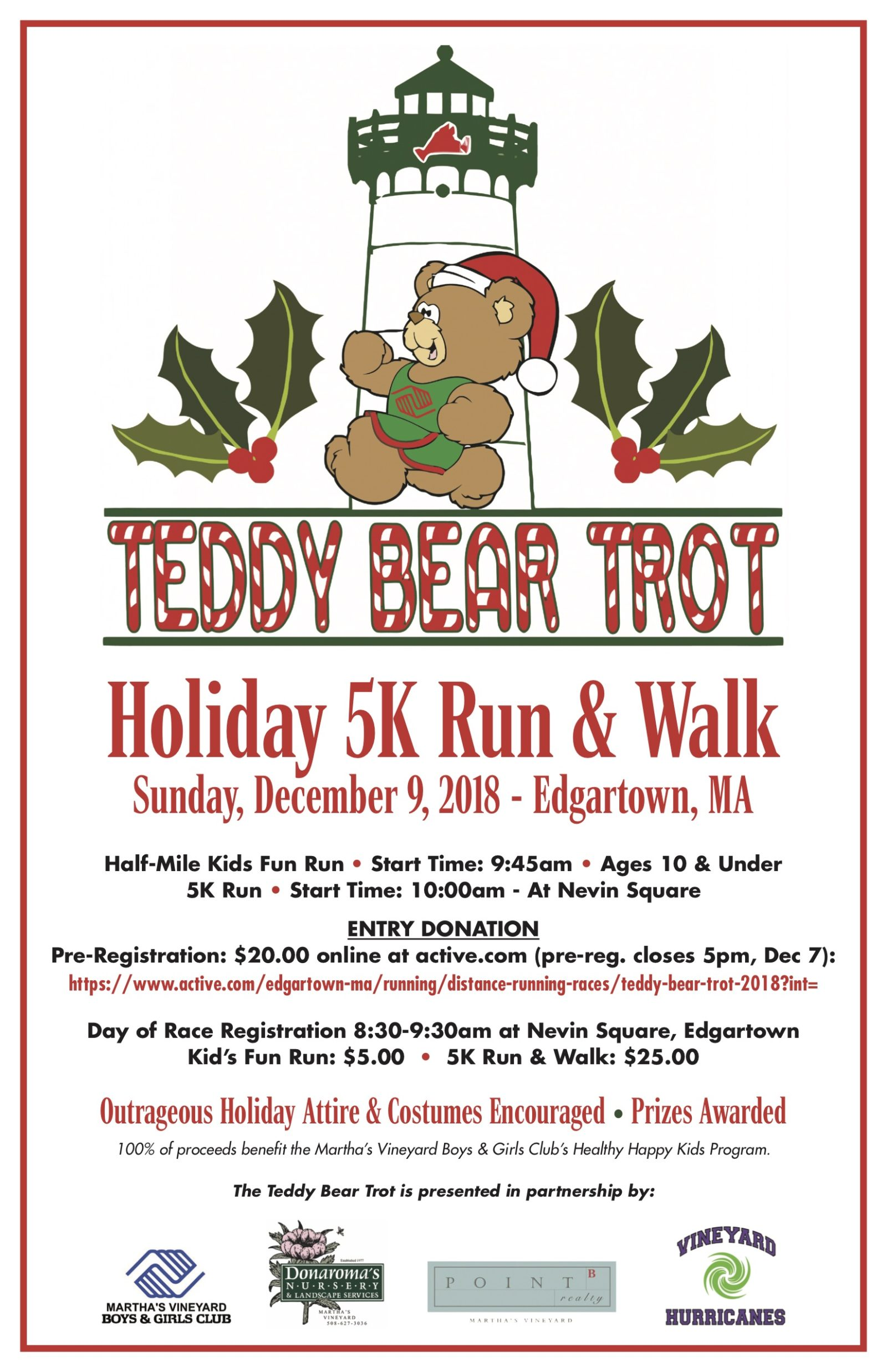 Martha's Vineyard Teddy Bear Suite Fundraiser Teddy Bear Trot Holiday 5K Run & Walk Supports MV Boys & Girls Club Healthy Happy Kids Program