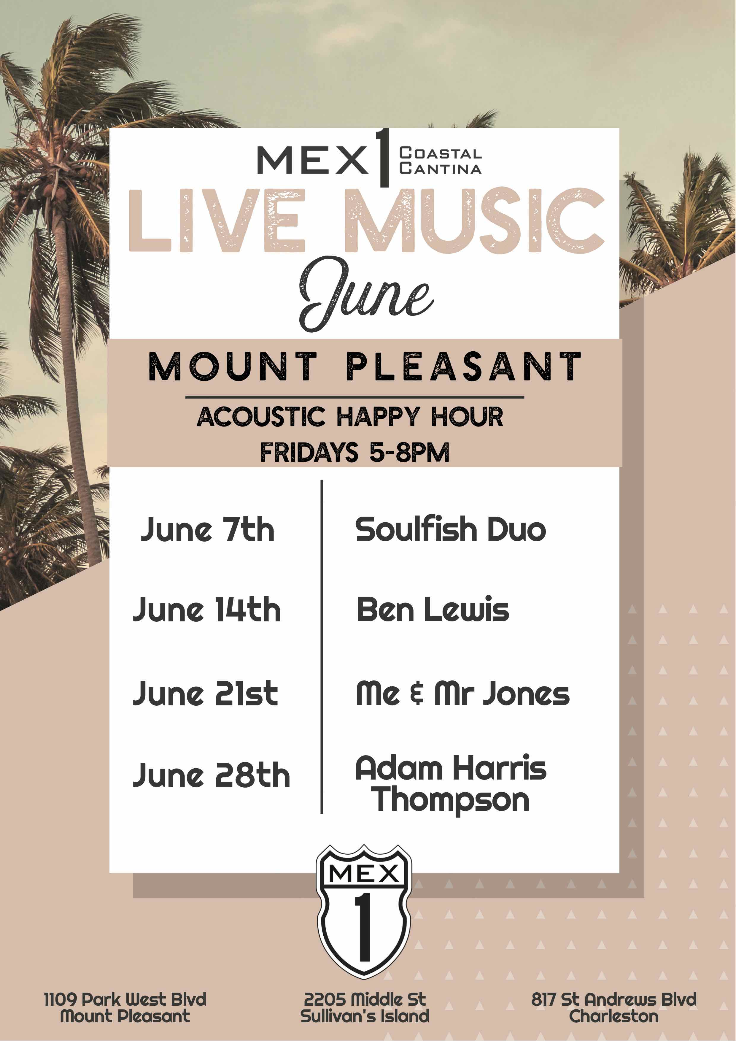 Mex 1 Live Music Calendar Mount Pleasant