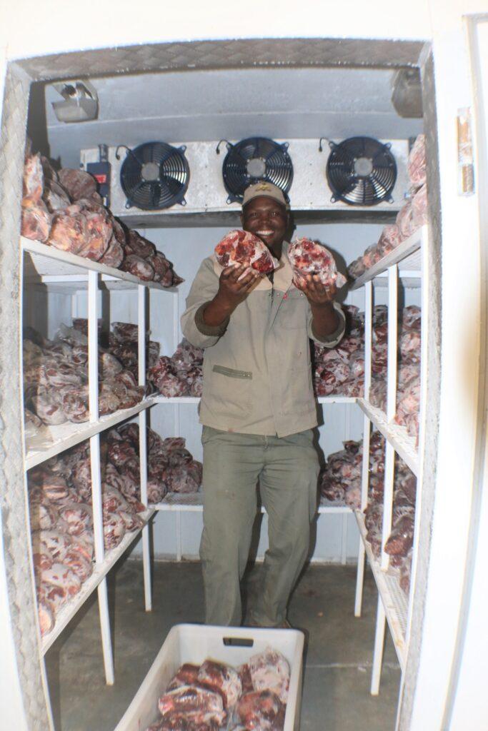 Patrick showing us the freezer