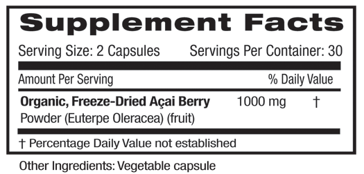 Acai Berry Supplement Facts