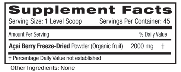 Acai Freeze Dried Powder Supp Facts