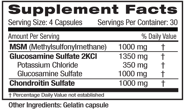 Glucosamine Chondroitin MSM Supp Facts