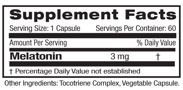 Melatonin Time Release Supp Facts