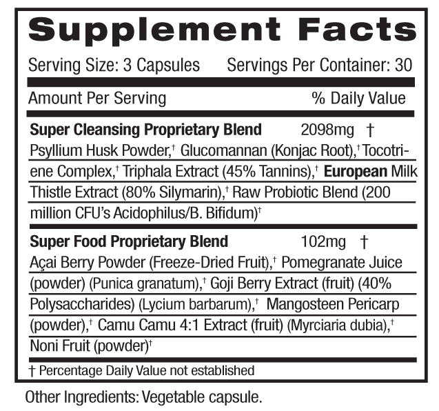 Super Cleanse Supp Facts