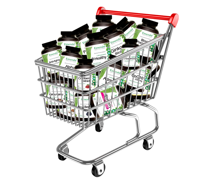 Emerald bottles in Shopping Cart