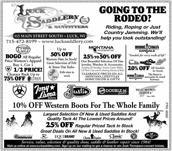 Luck Saddlery and Outfitters Specials