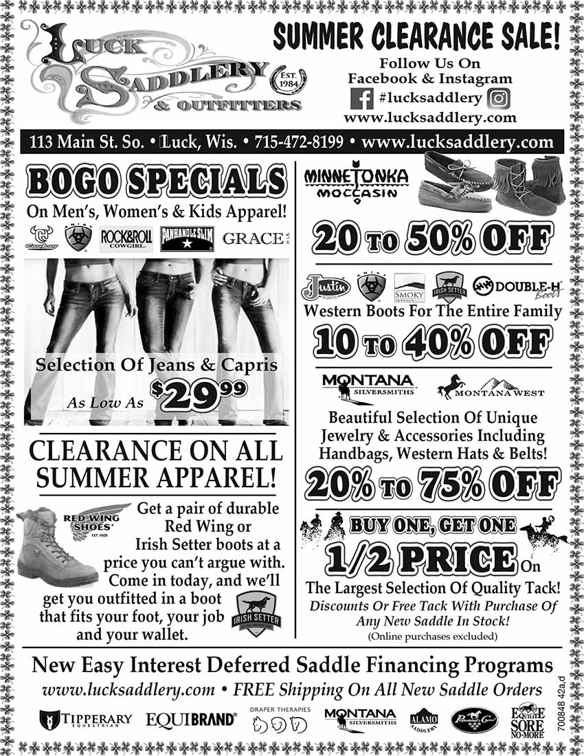 Luck Saddlery & Outfitters Summer Clearance Sale