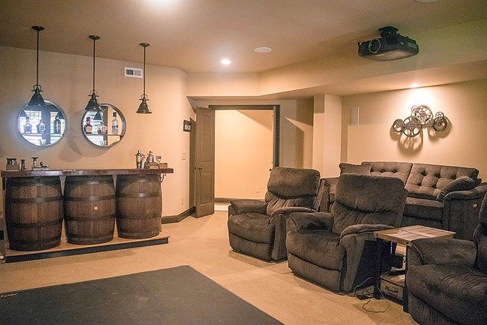 Home Theater Room in Full Basement Remodel