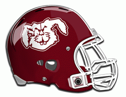 Bowie, Texas Jackrabbits football logo on maroon football helmet