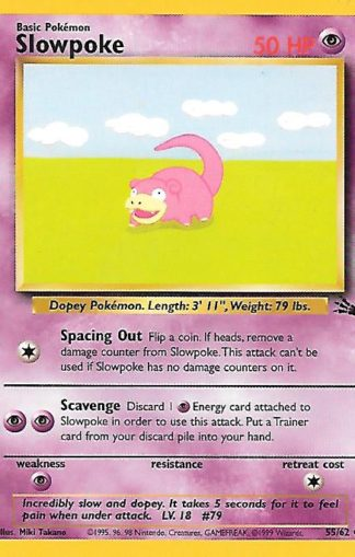 1999 Pokemon Fossil Unlimited #055 Slowpoke