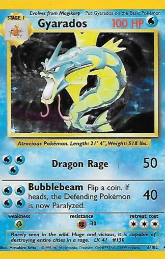 1999 Pokemon Base Unlimited #006 Gyarados