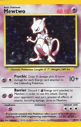 1999 Pokemon Base Unlimited #010 Mewtwo