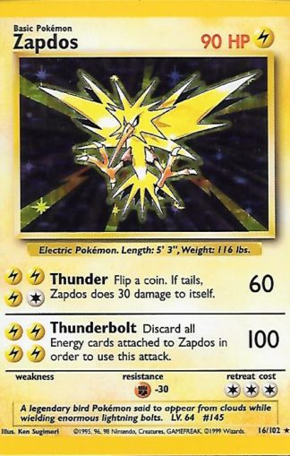 1999 Pokemon Base Unlimited #016 Zapdos