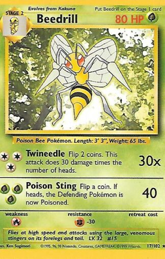 1999 Pokemon Base Unlimited #017 Beedrill